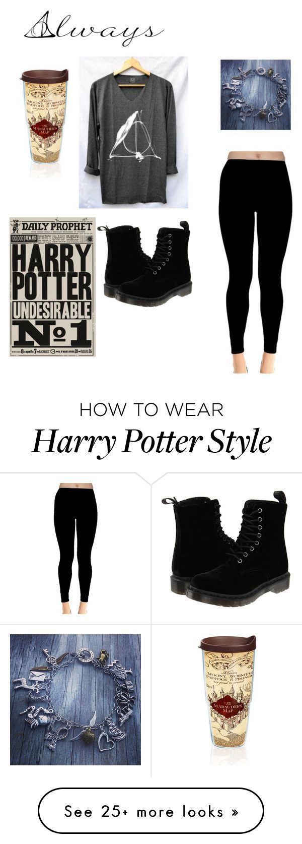 """Harry Potter lover"" by bellaboow-1 on Polyvore featuring Dr. Martens and Tervis"