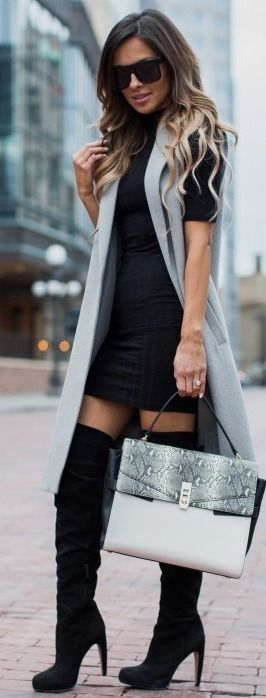 Asos Gray Sleeveless Coat | Asos High Neck Black Mini Dress | Sam Edelman Over-The-Knee Boots | Henri Bendel 'Uptown Snake' Satchel  || Gray Sleeveless Coat || Mia Mia Mine #asos