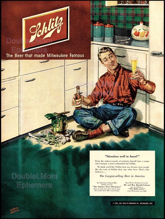 1951 Schlitz Beer Ad Illustrated by Albert Dorne// Old Schlitz Ads // Retro Beer Ads // 1950's Beer Advertising Art // Bar Wall Art Decor