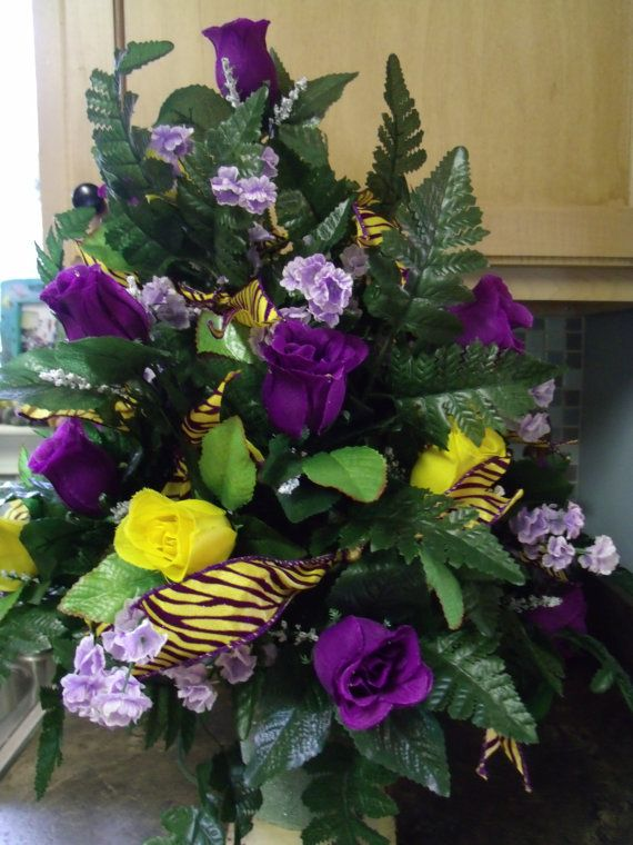 LSU Cemetery Flower Arrangement by CrazyboutDeco on Etsy, $32.99