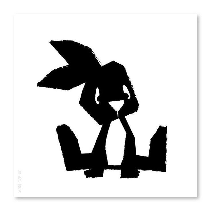 Poster Konijn 21x21cm Een must have voor trendy kinderkamers. Met deze poster van het konijntje in zwart-wit, creëer je in een handomdraai een heel nieuwe look monochrome zwart-wit kinderkamer babykamer decoratie