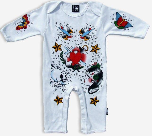 New Sailor Jerry Heart Romper Boy Girl Tattoo Swallow Rockabilly Punk Baby Pants   eBay