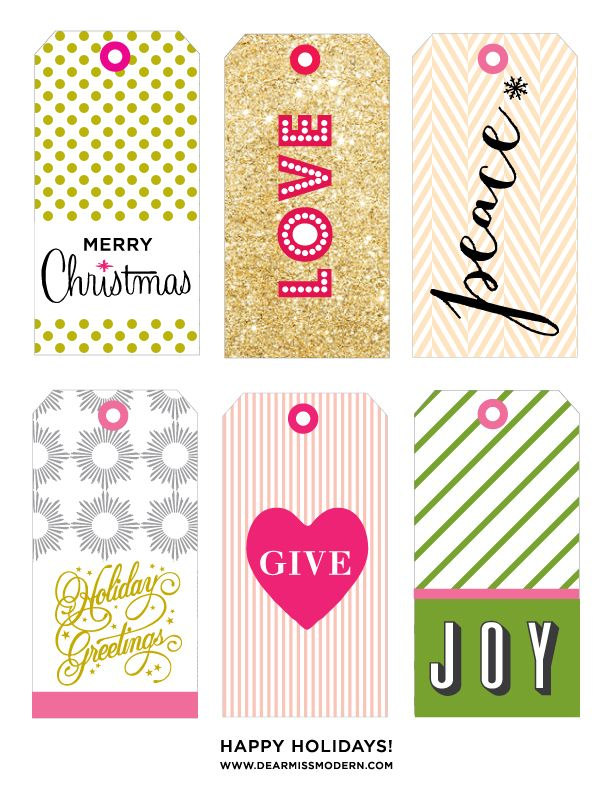 Miss Modern - Free Printable Holiday Gift Tags
