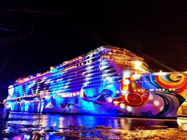 Pretty! - Norwegian Cruise Line's 4,000-passenger Norwegian Getaway sails out of Port Miami.