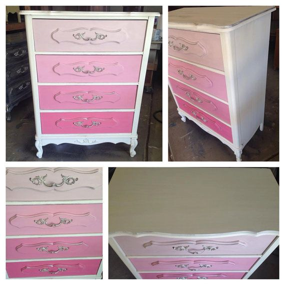SOLD- French Provincial Ombre Dresser, Shabby Chic, Nursery Furniture, Painted Furniture Denver and Colorado Springs, Pink, Tallboy on Etsy, $275.00