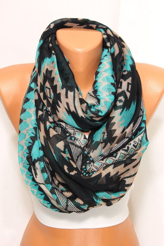 NEW Aqua Beige Black Aztec Scarf Tribal Native Scarf by escherpe