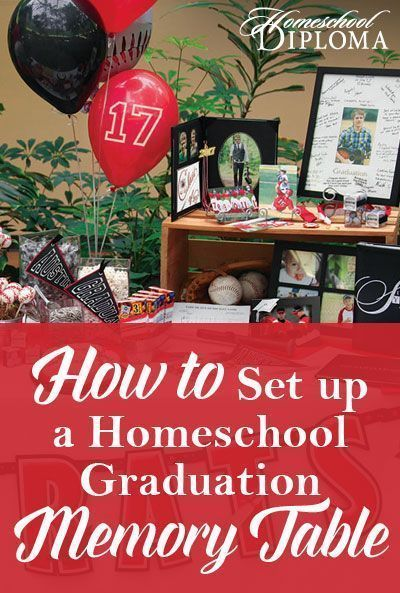 A graduation memory table is a wonderful way to decorate your graduation party and honor your hardworking, homeschool senior. Start early, gathering photos, mementos, and decorations months before your high school graduation event.