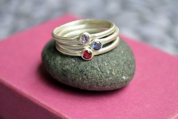 Set of Three Stackable Birthstone Rings in by KerriAnnDesigns, $108.00