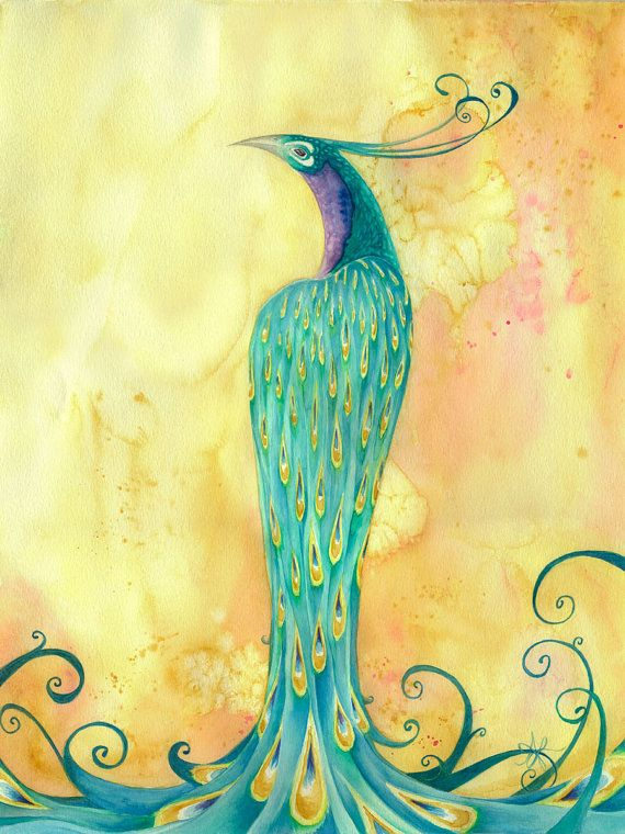 ORIGINAL large watercolor painting of a beautiful proud peacock titled Standing Tall on acid free 18 x 24 watercolor paper. Delicate