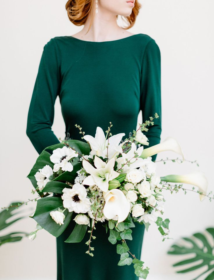 Color Scheme OUTFIT Inspiration: | Emerald Green + ADD White POPS of Gold (inspired by the yellow in the Center of the flowers) + POPS of Jade Green (Optional- as inspired by the foliage in the bouquet!)