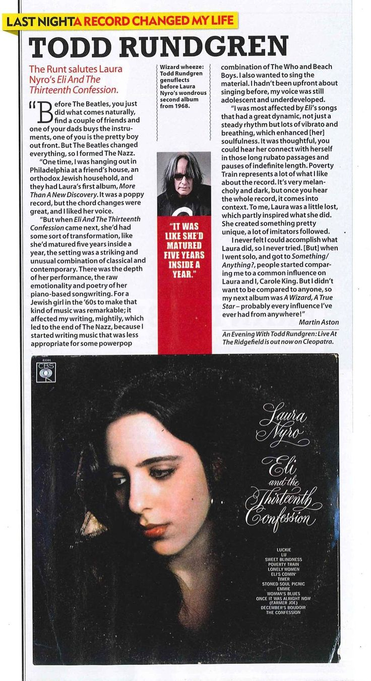 Todd Rundgren's homage to Laura Nyro - https://johnrieber.com/2017/03/08/laura-nyros-eli-and-the-thirteenth-confession-todd-rundgrens-love-letter-to-lauras-masterpiece/