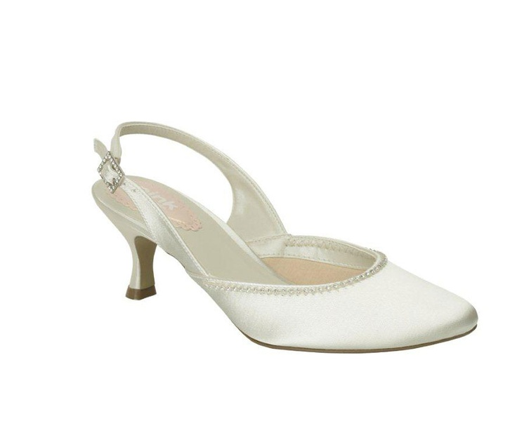 """Spring  Heel 2 1/4"""". Round toe ballerina-style slingback with delicate trim. Ivory dyeable satin. Sizes 36-42. Made by PINK of London for the UK and European market. A really popular shoe in the shop!"""