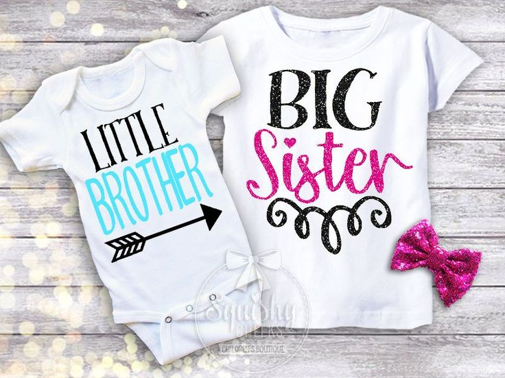 Little Brother Big Sister Shirt Pack. Available in Onesie or T-shirt. Using adorable fonts in a gorgeous design, this is perfect for gift for new sibling! Perso