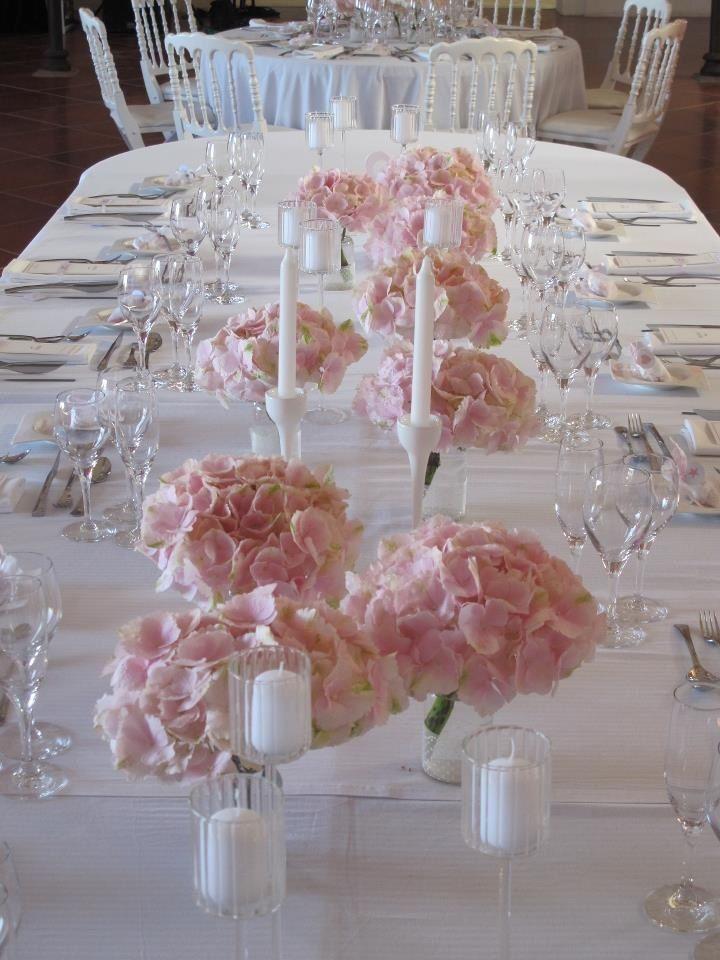 Deco table mariage hortensias