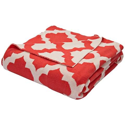 Jaipur Trinity Light Red Quatrefoil Cotton Throw Blanket - #9H881 | Lamps Plus