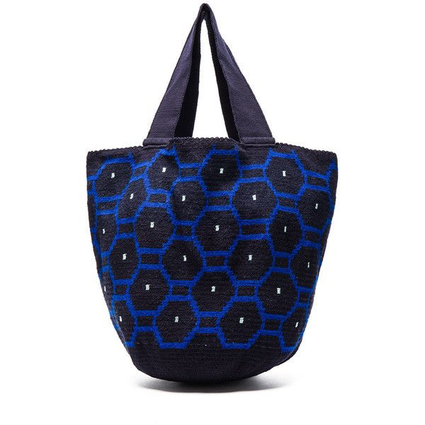 Sophie Anderson Jonas Octo Tote ($485) ❤ liked on Polyvore featuring bags, handbags, tote bags, cotton tote, tote handbags, blue hand bag, hand bags and tote purses