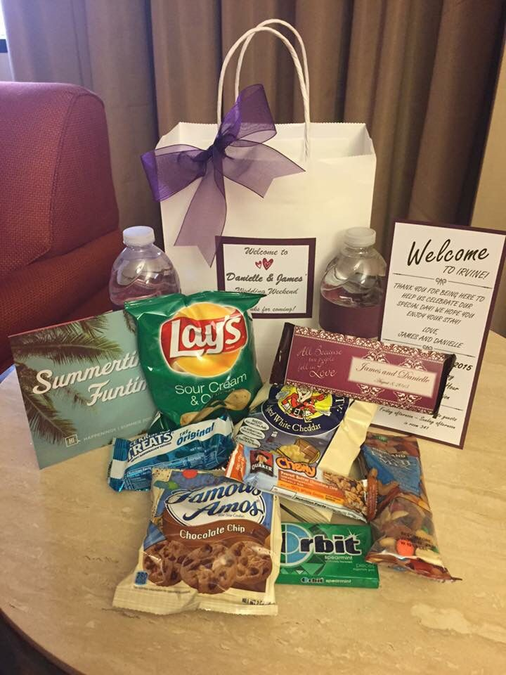 Hotel Welcome Bags for our wedding. We bought everything from Costco and put these together. Also put in a few brochures from the hotel and a welcome note. Everyone loved them!!