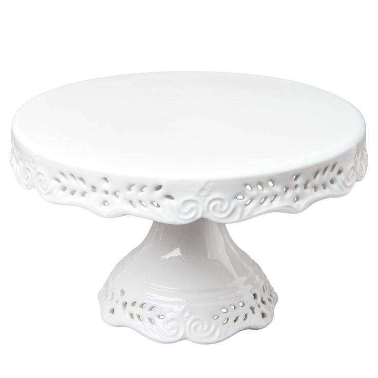 Gracie China Victorian Rose Fine Porcelain Cake Stand 10-Inch Off White
