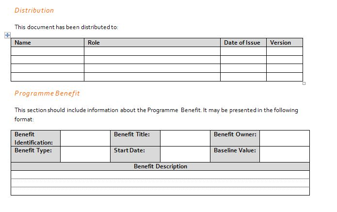 Program Benefits Profile for Project Management Communications Plan