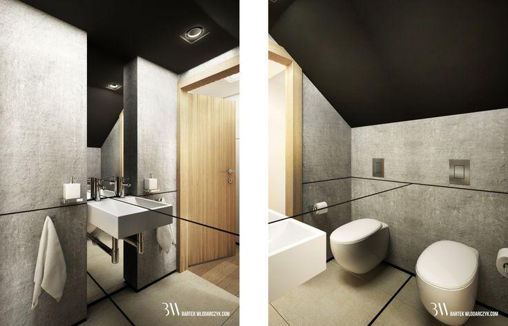 Łazienka pod schodami z lustrem na całej ścianie oraz gresem Marazzi na podłodze. www.bartekwlodarczyk.com