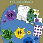 Let these cute little turtles help your students learn their digraphs!    This packet focuses on the 4 digraphs: sh, ch, wh, and th and can be used as a center or for a whole class 4 square type game. $