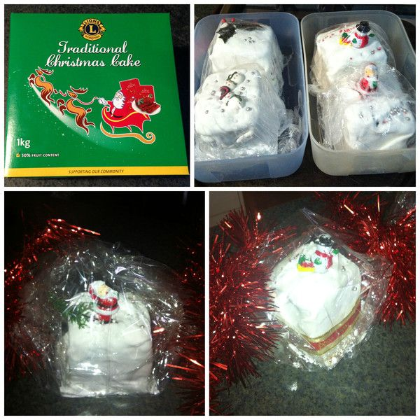 A touch of Christmas giving. Love this idea. Buy a Christmas cake, 1/4 it, decorate 3 and give them away.