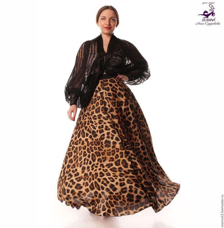 Купить Юбка шелковая на резинке в пол Струящийся Шелк Леопардовая - юбка, юбка шелковая в пол