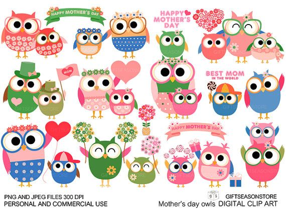 Mother's day owl Digital clip art for Personal by Giftseasonstore