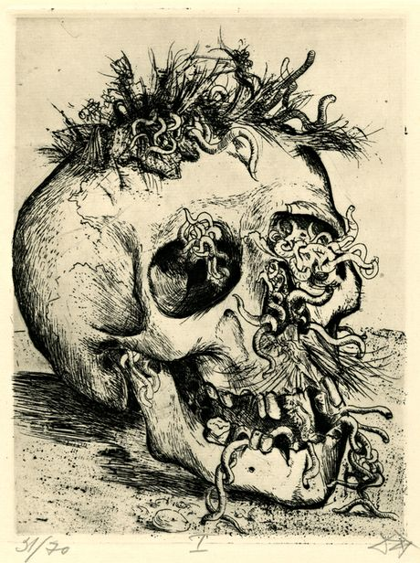 Otto Dix's Skull, from his 1924 set of first world war drawings, Der Kreig Photograph: British Museum/DACS