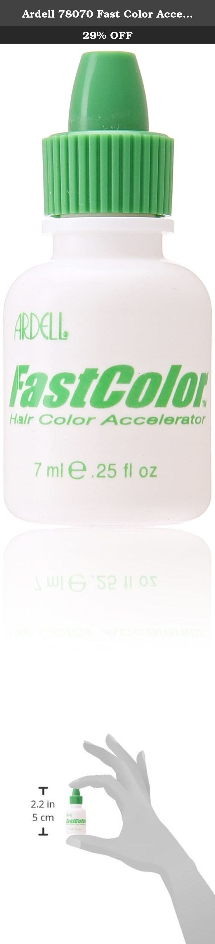 Ardell 78070 Fast Color Accelerator, 0.25 Ounce. Ardell 78070 fast color accelerator, 1/4 ounce bottle. Fast color, a hair color additive that processes color in half the time without damaging the hair or compromising textural integrity. Simply add a few drops of fast color to any bleach, toner, permanent color, semi-permanent color or demi-permanent color to process hair color in as little as 10 minutes. Rich in antioxidants and vitamins, fast color also improves gray coverage, enhances...