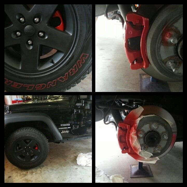 Jakki's JK plasti dip my rims and painted brake calipers I cant stop pimping lol ♥ my Jeep #CaliperCovers #MGP #Brembo