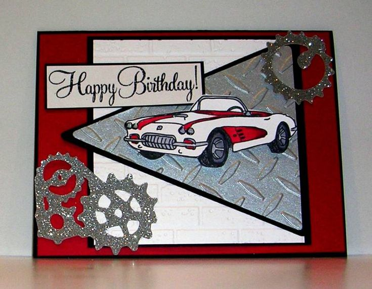 Check out the gear embellishments for this card.Corvette by Pam MacKay - Cards and Paper Crafts at Splitcoaststampers