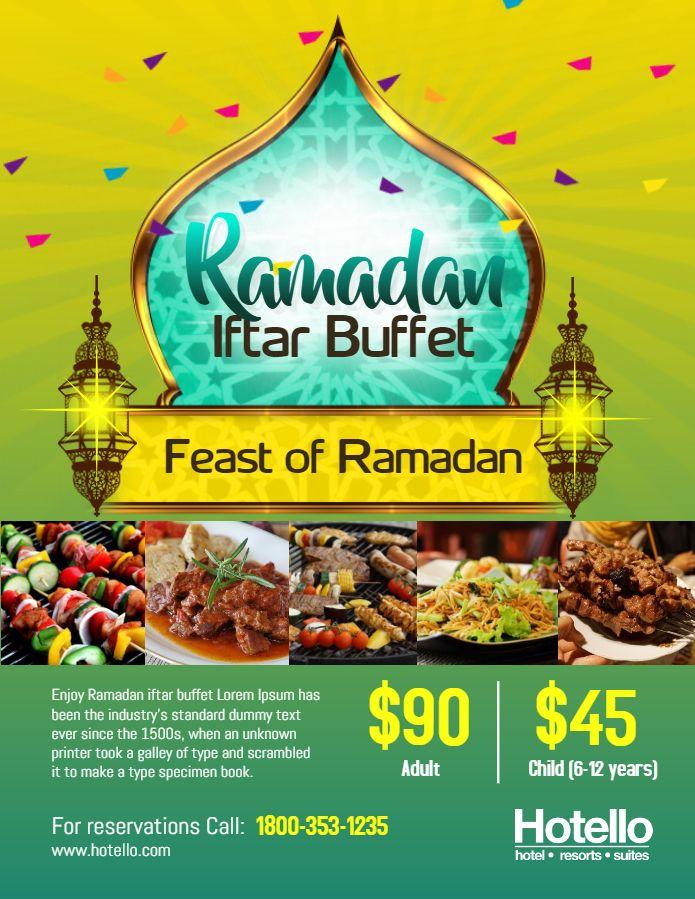 Ramadan Iftar Buffet Restaurant Ad Flyer Template Green Brosur