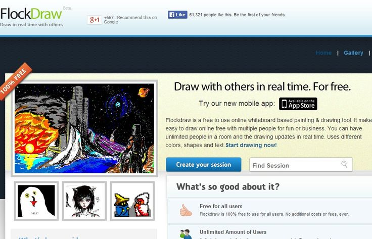 Ordinary Online Drawing Tool With Friends #9: TOOL: Flockdraw - Collaborative Drawing Tool.