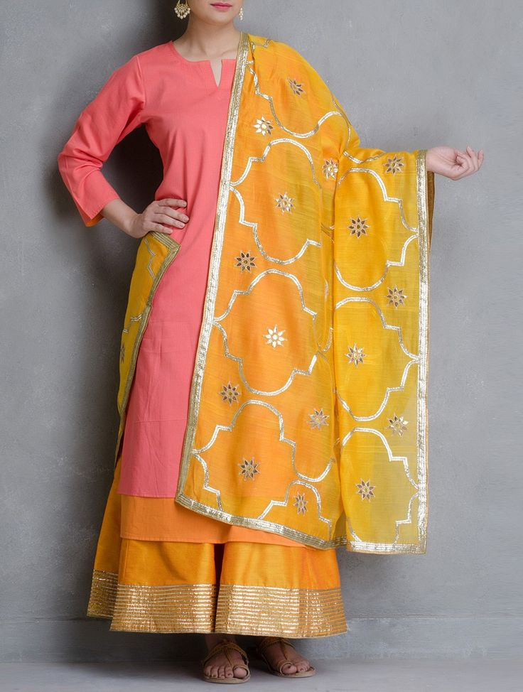 Buy Yellow Gota Patti Jali Cotton Dupatta Dupattas Woven Color Crush Contemporary Kurtas and Palazzos in Maheshwari Online at Jaypore.com