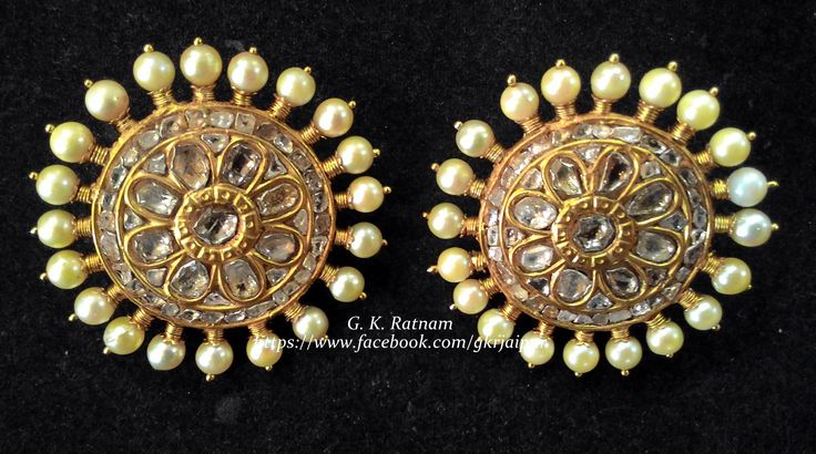 If someone tells you that you have enough jewelry and you don't need anymore, stop talking to them. You don't need that kind of negativity in your life. Elegant diamond polki earrings with pearls to charm everyone around you | Diamond polki earrings | Traditional Indian Jewelry | Wedding Jewelry | Bridal Jewelry