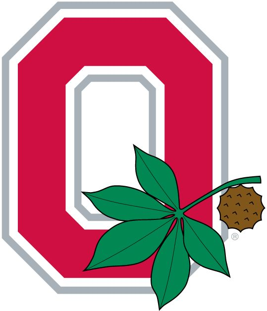 Ohio State Buckeyes Alternate Logo (1968) - A red O with leaf and buckeye nut