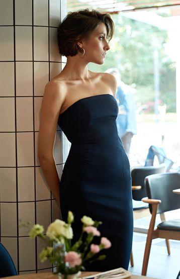 124695cfd94 robe fourreau bustier bleu marine chic Robe Fourreau Noire