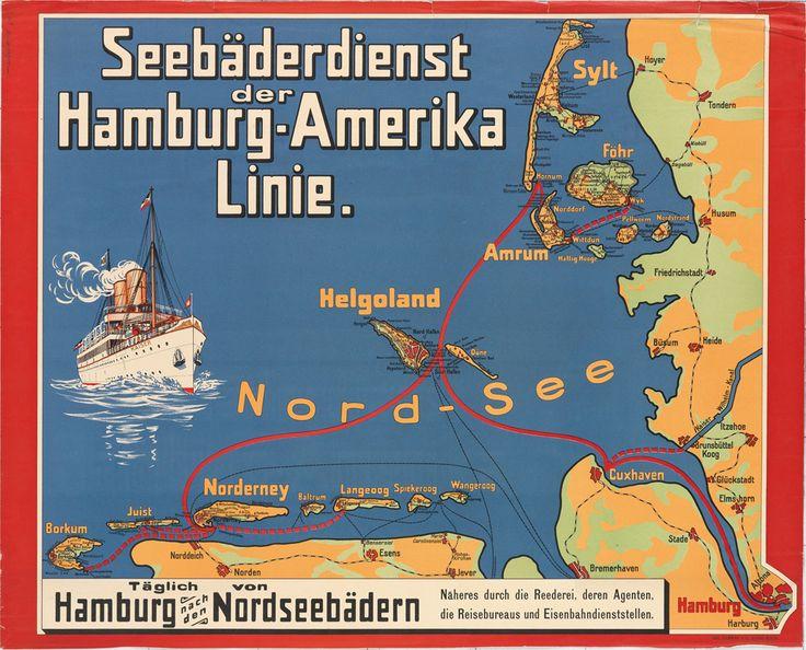 DESIGNER UNKNOWN SEEBÄDERDIENST DER HAMBURG - AMERIKA LINIE [KAISER].  23 3/4x29 1/4 inches, 60 1/4x74 1/4 cm. Carl Flemming, Glogau-Berlin.