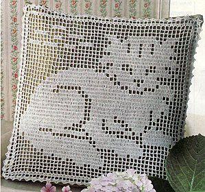International Crochet Patterns, filet crochet pillow with cat design