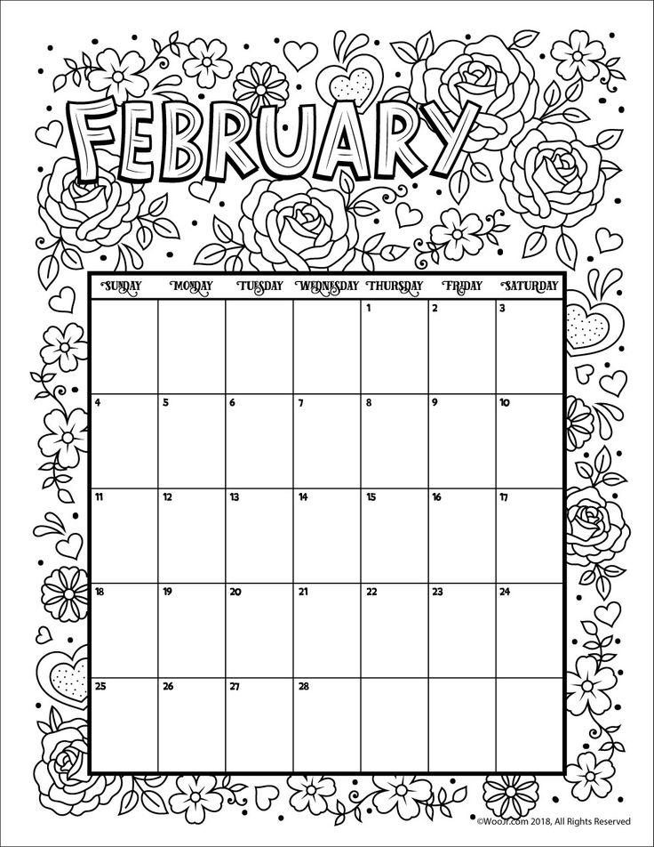 February 2018 Coloring Calendar Page Kids Calendar