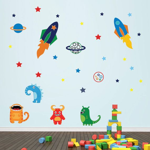Boys Space Rockets Aliens In Space Wall Stickers Space Wall: Maybe for toddler age. :)