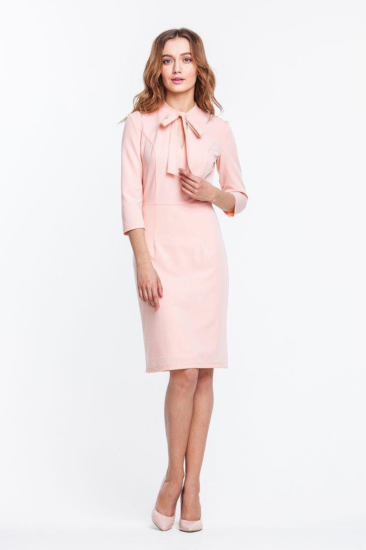 2314 Платье-футляр пудровое с бантом купить в Украине, цена в каталоге интернет-магазина брендовой одежды Musthave