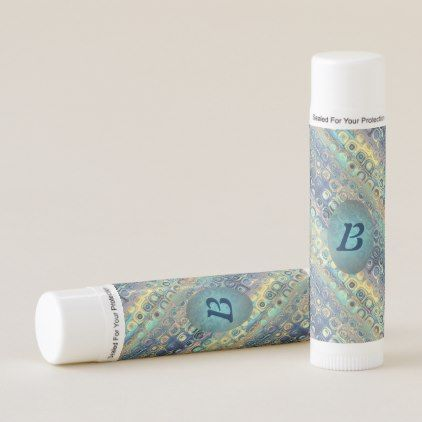 Peacock Colors Retro Rounded Squares Initialed Lip Balm - monogram gifts unique custom diy personalize