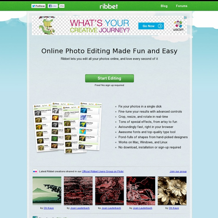 Ribbet is a free web-based image editor which offers lots of ready-made Instagram-like effects, photo collage options, resizing, cropping and more editing features.