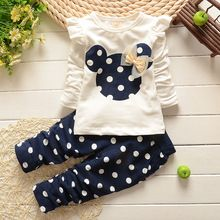 2015 New kids clothes girl baby long rabbit  sleeve cotton Minnie casual suits baby clothing retail children suits Free shipping(China (Mainland))