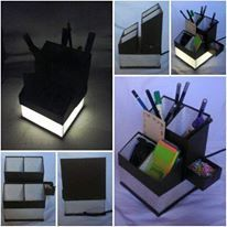 stationery organizer with build in lamp