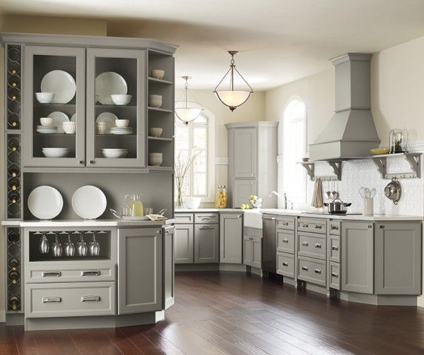 Grey Kitchen Units What Colour Walls: Pebble Gray Kraftmaid Cabinets - Google Search …