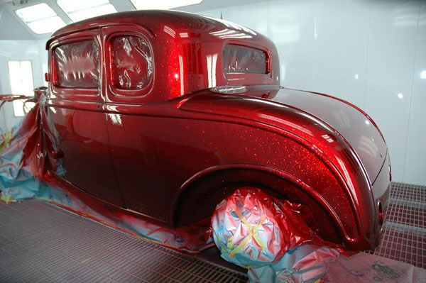 House of kolor kandy apple red over flake silver base for Dark green paint job