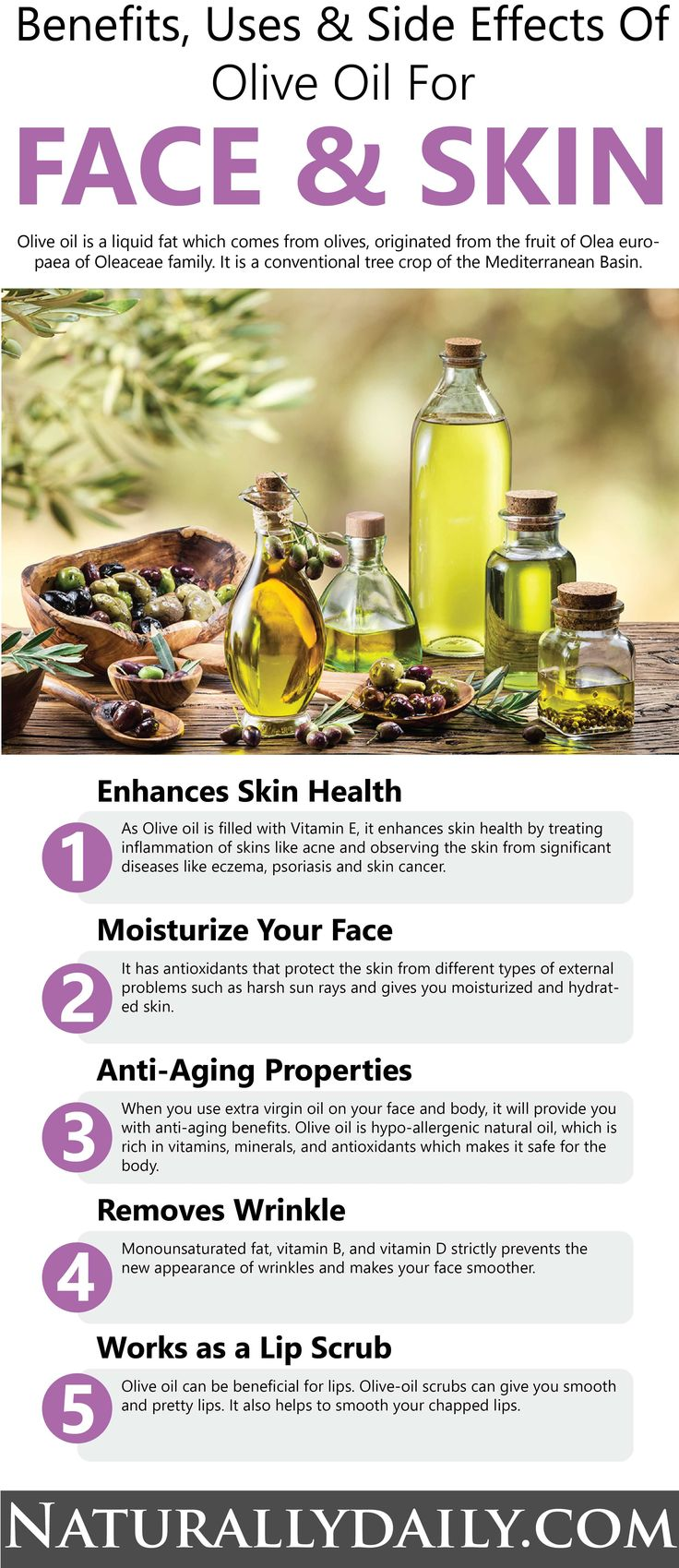 Olive Oil for Face and Skin Benefits, Uses, Side Effects